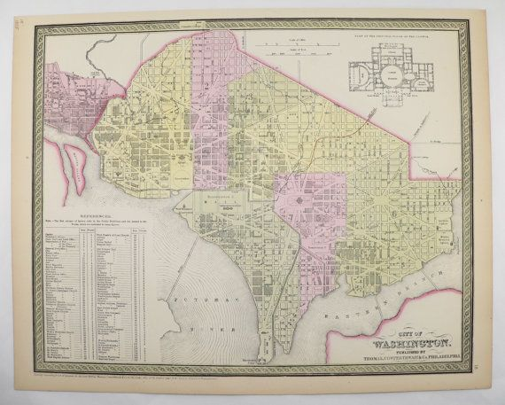 Washington DC Map Original Antique Map 1855 Mitchell Map City