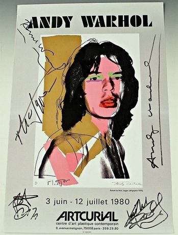 MICK JAGGER  - HAND SIGNED BY ANDY WARHOL AND ALL MEMBERS OF THE ROLLING STONES!
