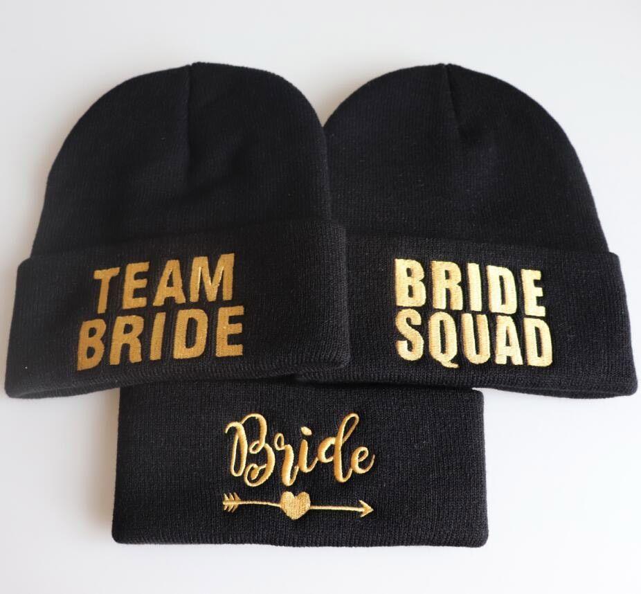 5d8c663ab Embroidered TEAM BRIDE SQUDA Tribe caps Beanie cap bachelorette ...
