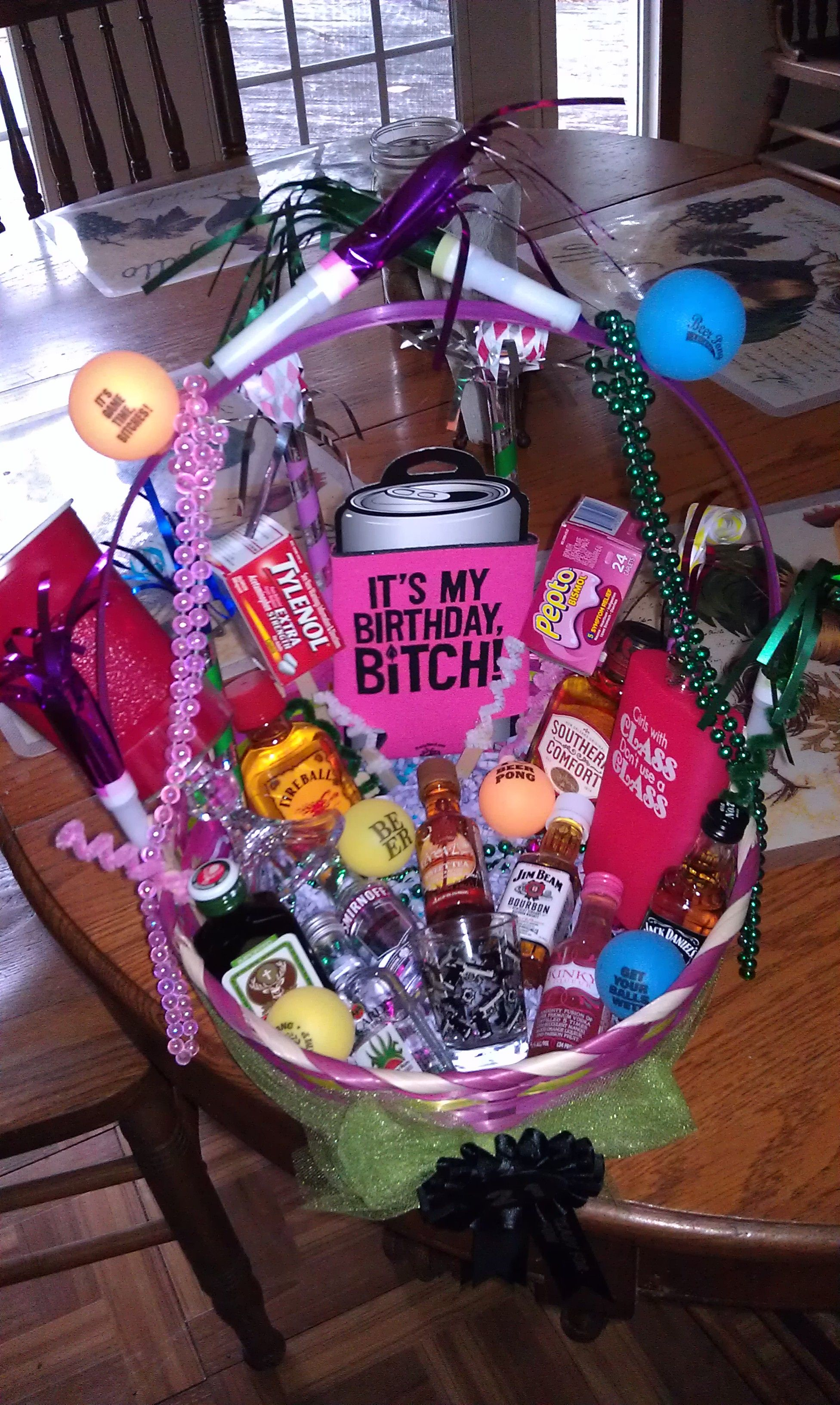 21st Birthday Basket I Want This Love It SOMEONE MAKE THIS FOR ME