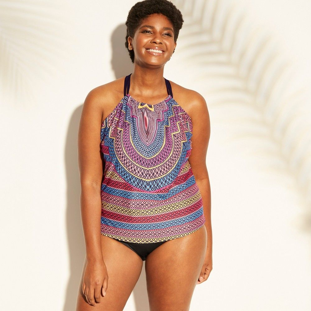 15cdcd737f Women s Plus Size High Neck Racerback Tankini Top - Clean Water Geo Print  24W Color  Multicolored. Gender  Female. Age Group  Adult. Pattern  Tribal  design.