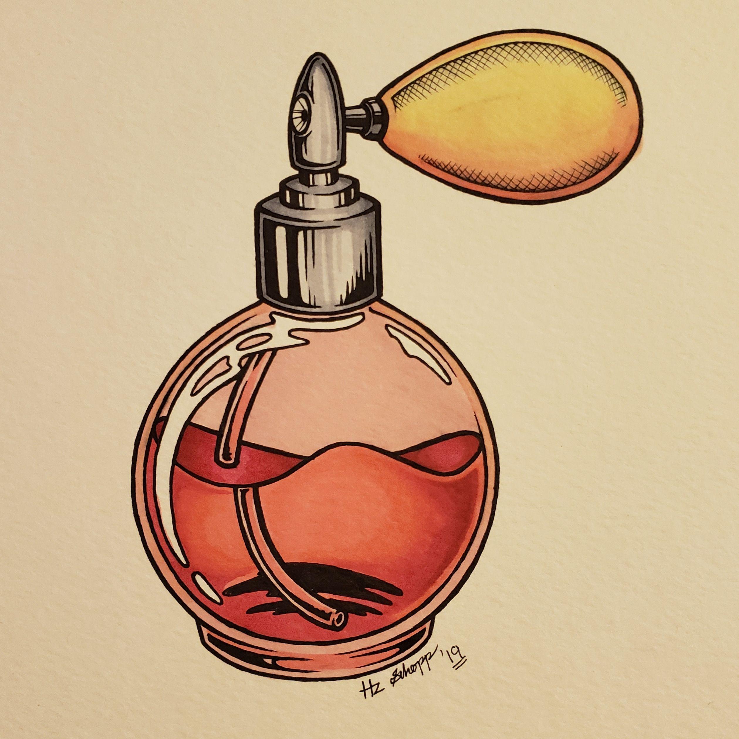 Perfume Bottle Me ink on paper 2019 en 2020 (con imágenes