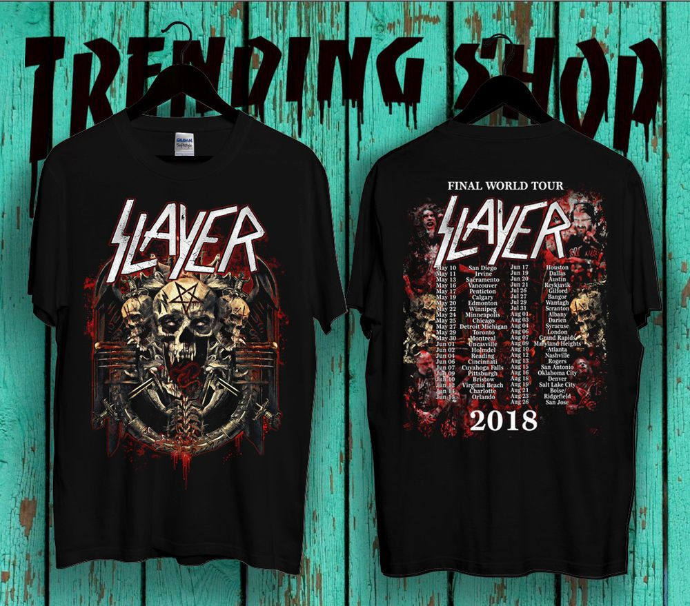 04a3b7304 Slayer T-Shirt Final World Tour 2018 Second Leg tee Gildan Size : S - XXL  #Gildan #GraphicTee