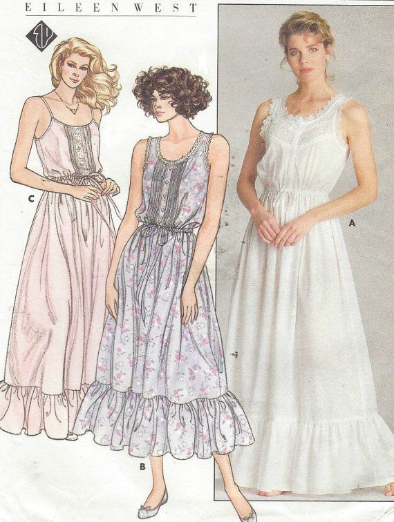 80s Eileen West Butterick Sewing Pattern 3778 Womens Sexy Nightgown ...