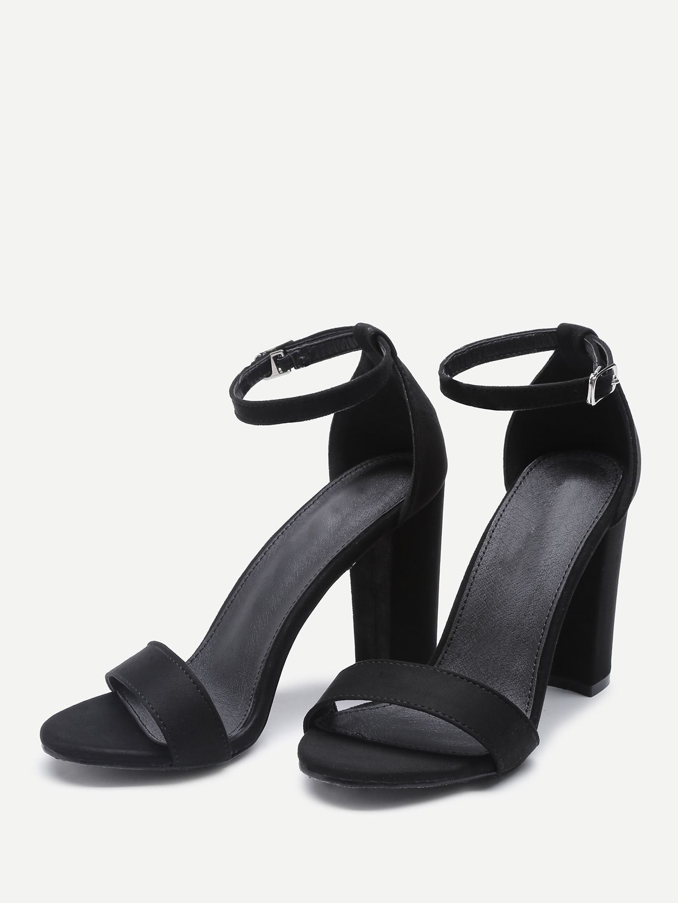 34f70ffd1e5c Elegant Open Toe Ankle strap Black High Heel Chunky Two Part Block Heeled  Sandals