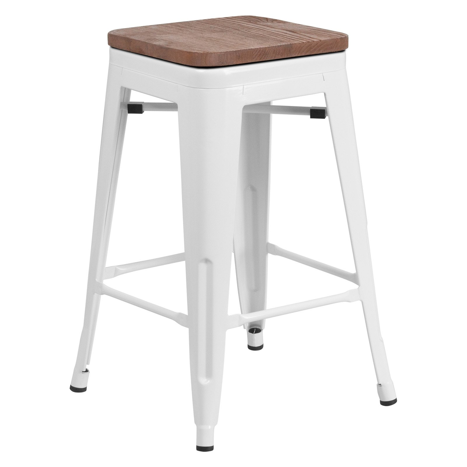 Awesome Flash Furniture Metal Backless 24 In Wooden Seat Counter Short Links Chair Design For Home Short Linksinfo