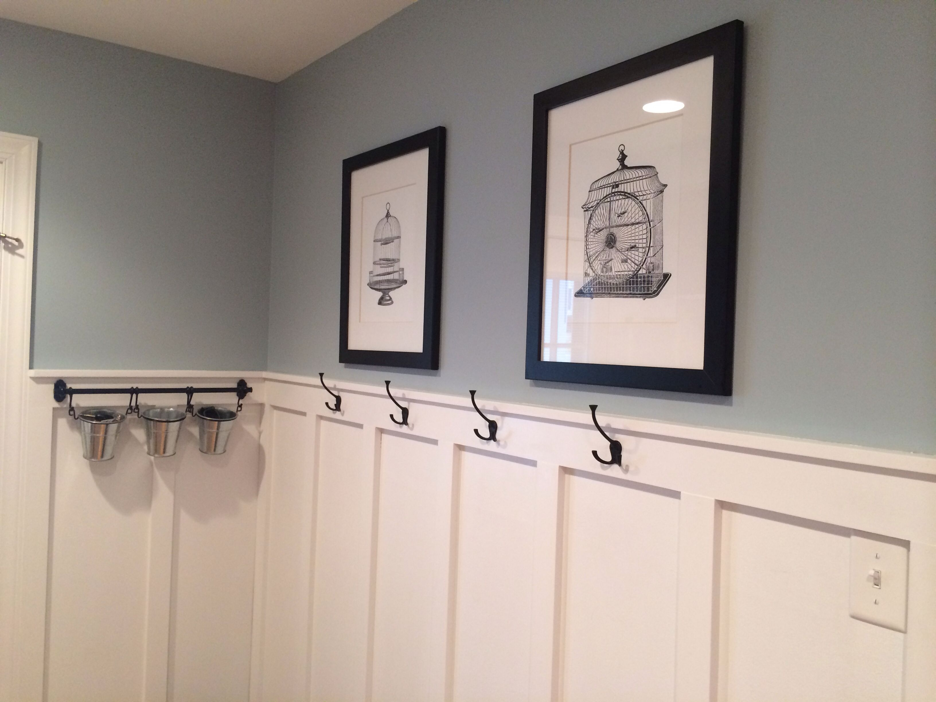 Mudroom Updated With Board And Batten Wall Color Valspar Woodlawn Silver Brook