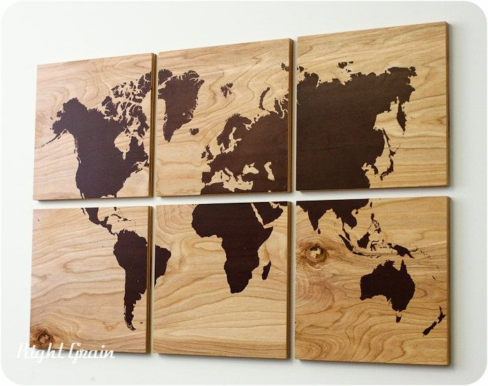 Wood Grain World Map Screen Print Large Wall Art Rustic Home