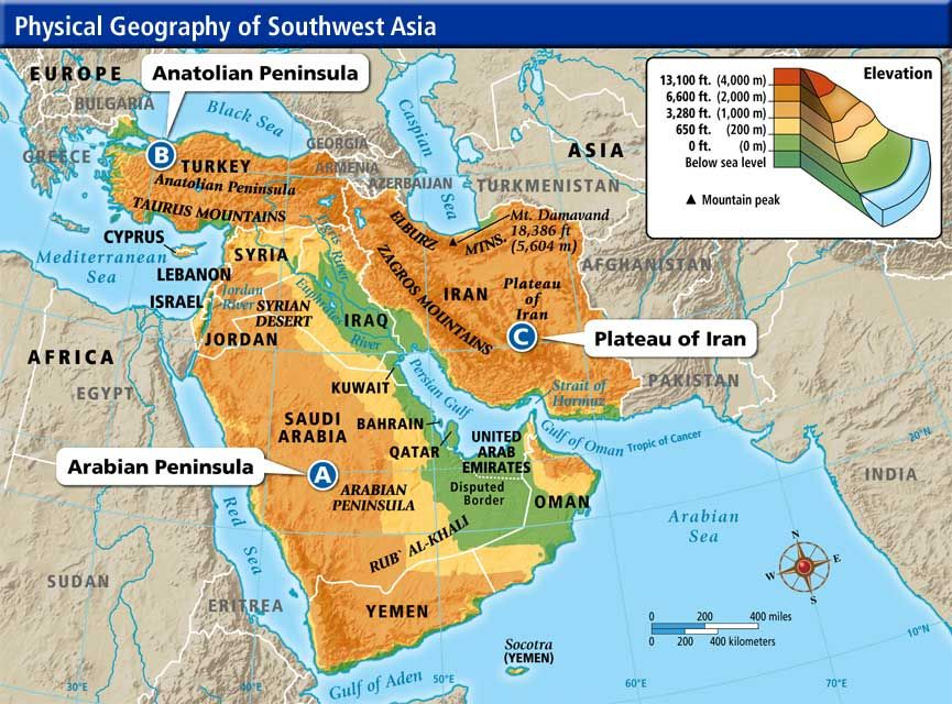 Central And Southwest Asia Physical Map | keshmiri.me