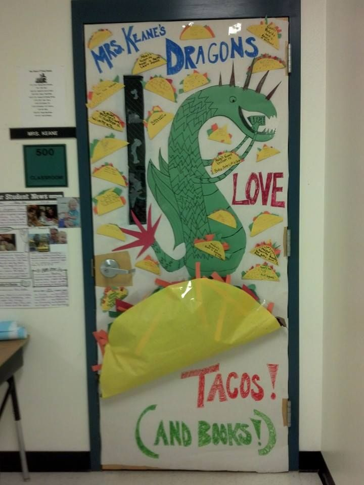 Classroom Decoration Ideas Fort Worth : Classroom door decoration for literacy week dragons love