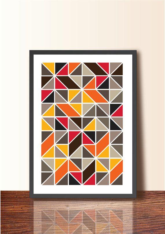 Geometric ABSTRACT ART Tangram. Geometric Poster Print, A3 size, Wall Decor, Mid Century Modern Wall Art, Scandinavian design inspired - Etsy