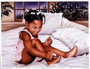 Bath Time Girl Sydney Morgan African American Art Print 10x8