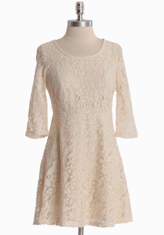 """Precious Memories Lace Dress 44.99 at shopruche.com. Impeccably crafted, this cream lace dress is swirling with delicate roses and complemented with sheer three-quarter length sleeves, a flattering scoop neckline, and a hidden side zipper closure. Fully lined60% Rayon, 40% Nylon, Lining: 100% Polyester, 32"""" length from top of shoulders"""