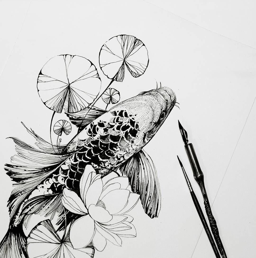 Black Flower Watercolor Art By Tae Lee: Koifish Sketch By Duana Severinenko Tattoo Artist In Kiev