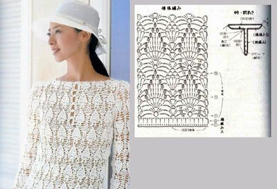 Another crocheted garment using the pineapple pattern.
