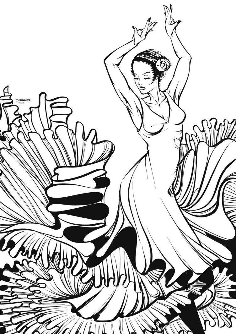 Flamenco Linework By Crisvector Dancing Drawings Drawings
