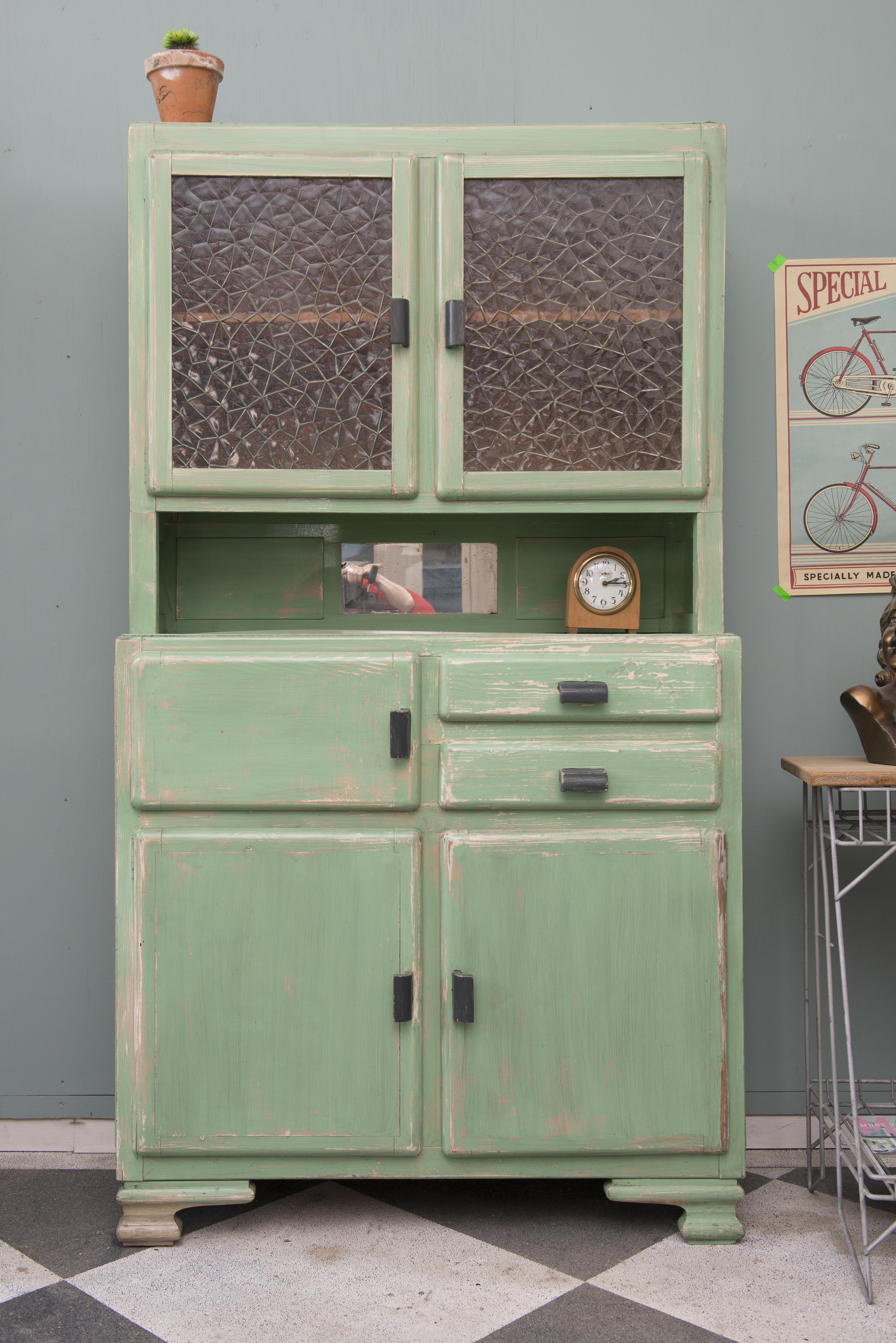 Ongebruikt Vintage keukenkast zeegroen. | Keukenkasten - Kast, Antieke kast BK-23