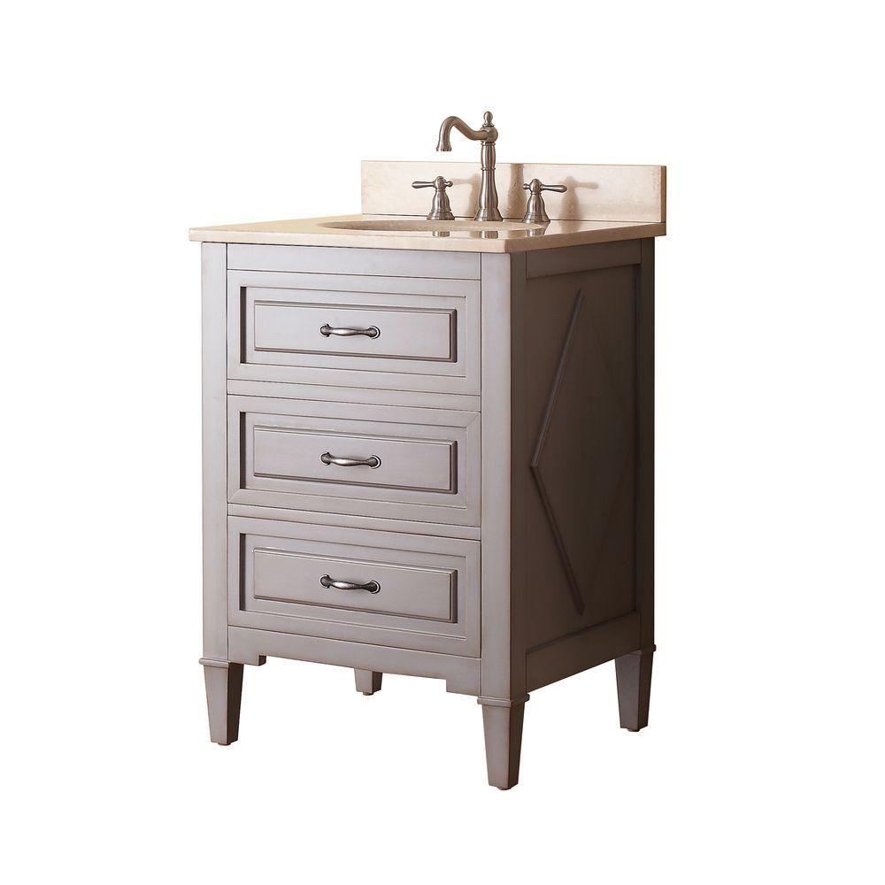 Avanity Kelly 25 In W X 22 In D X 35 In H Vanity In Grayish Blue With Marble Vanity Top In Galala Beige And White Basin Kelly Vs24 Gb B Single Bathroom Vanity Bathroom