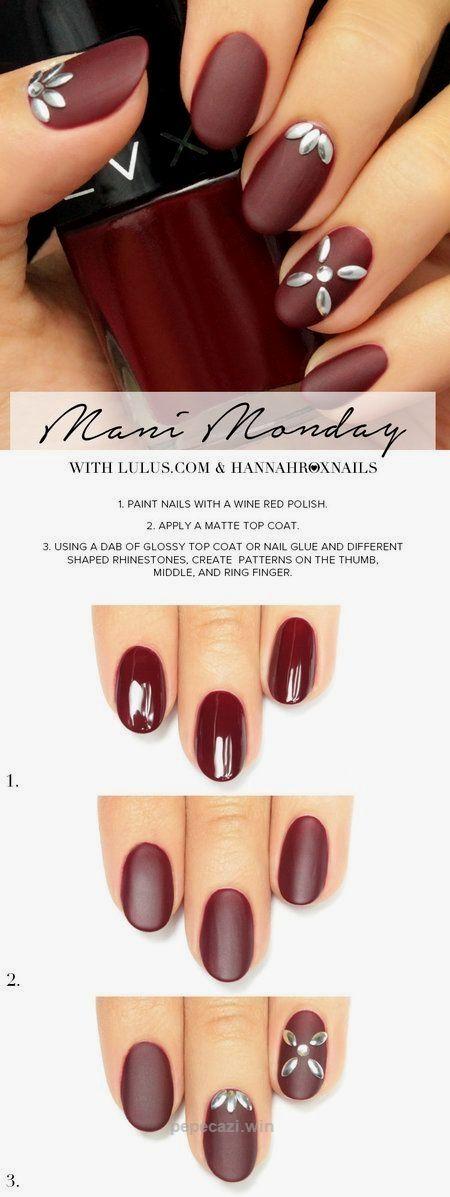 Cute Fall Nails – Matte Burgundy Nail Tutorial #hannahroxnails ...
