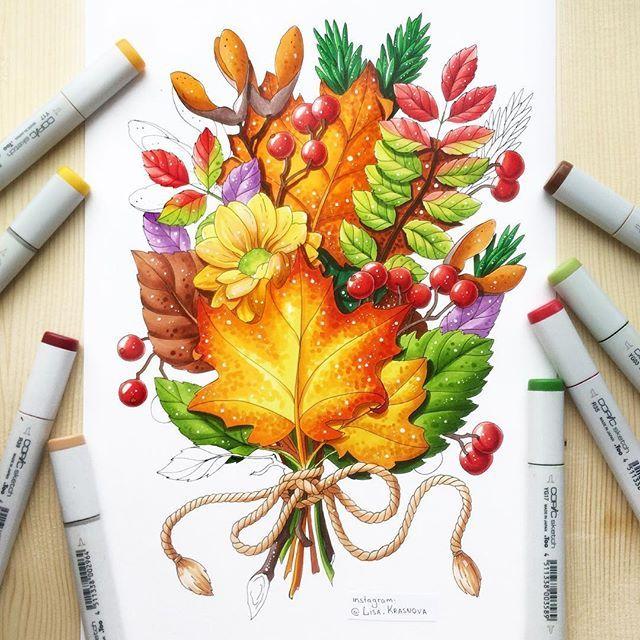 Autumn tattoo sketch 🍁 Этой осенью я нарисовала не меньше килограмма разных листьев, веточек и ягод. Но эту работу на заказ все равно делала, затаив дыхание. Ведь это не просто скетч, а эскиз татуировки! Теперь мечтаю поскорее увидеть результат... 😊🍂