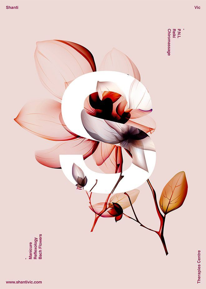 40 Floral Typography Designs that Combine Flowers & Text #posterdesigns