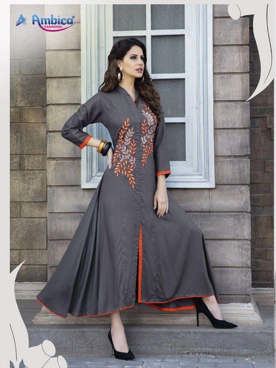 Grey rayon printed party wholesale kneelong kurti suits