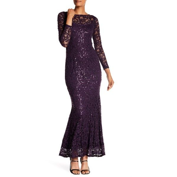 Marina Long Sleeve Lace Gown ($80) ❤ liked on Polyvore featuring ...