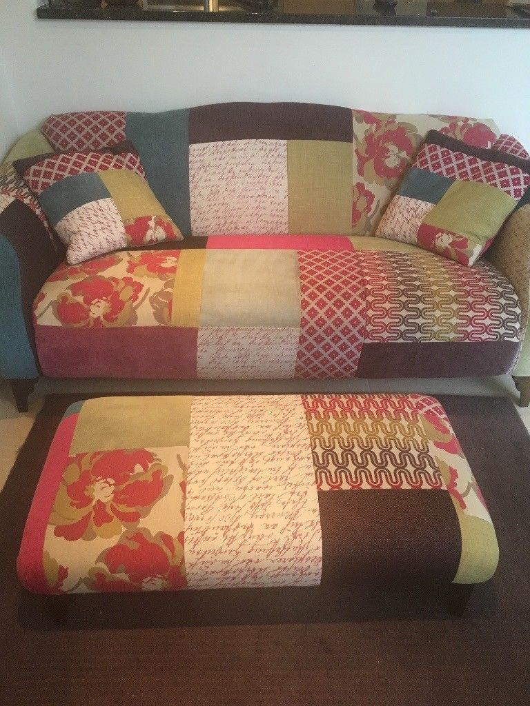 Patchwork Sofa And Footstool From Dfs Similar To Kitty Sofa Width