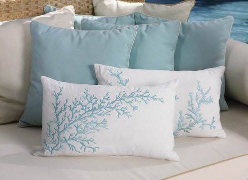 Ocean Themed Throw Pillows Seaside Inspired Embroidered Coral
