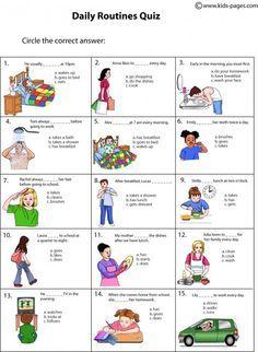 Daily Routine Quiz Worksheet Activitie Schedule English Activities Essay In German