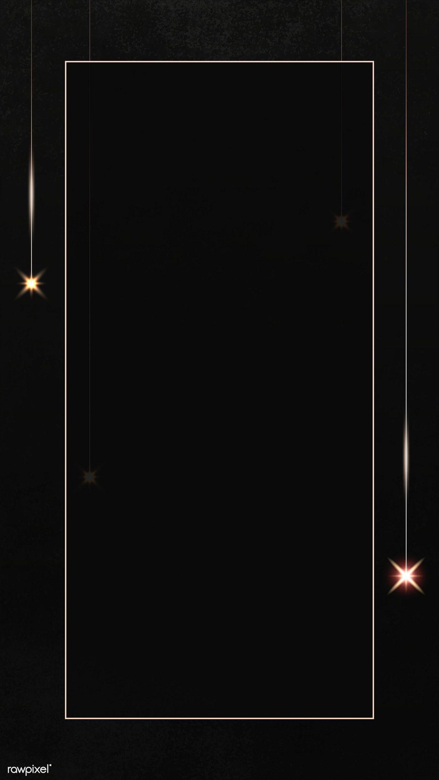 Download Premium Illustration Of Rectangle Gold Frame With Sparkle Black Background Wallpaper Frame Border Design Gold Frame