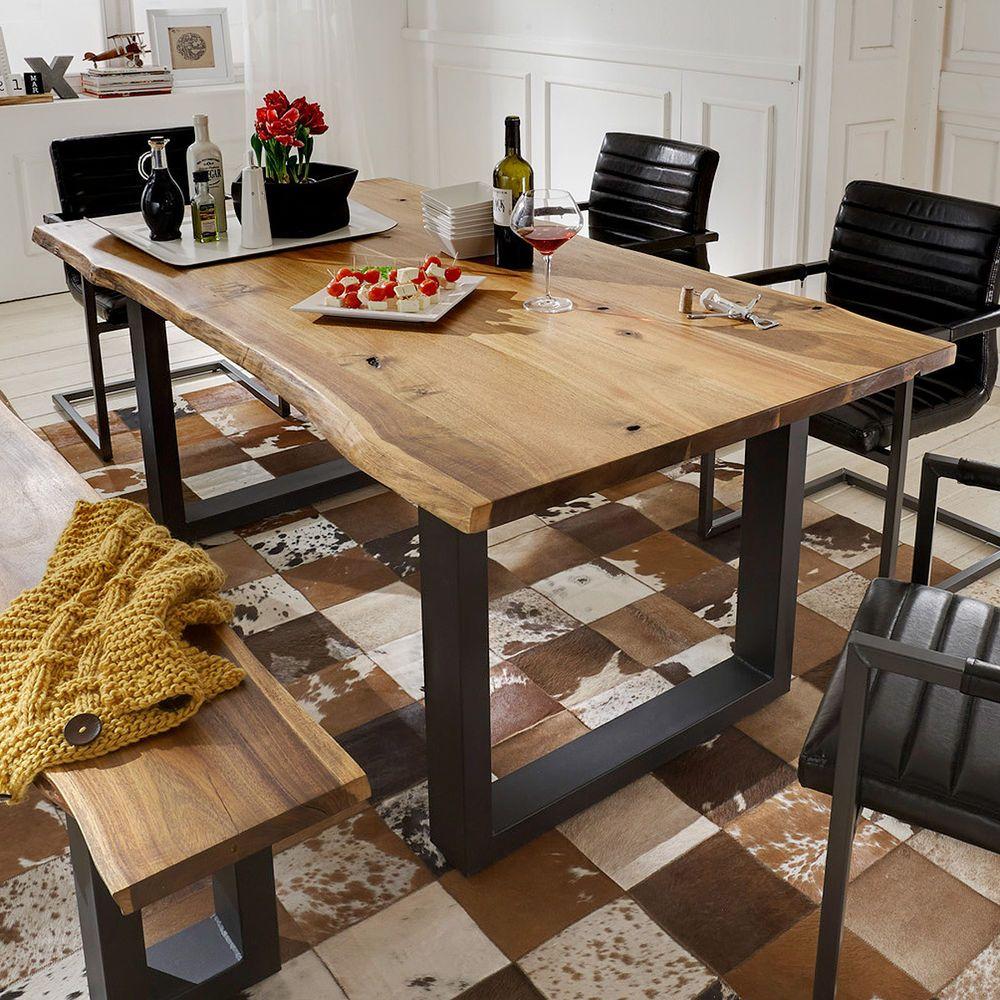 Marvelous Esstisch Queens Tisch Esszimmer Akazie Massiv Natur Geölt Und Metall Grau  180x90 In Möbel U0026 Wohnen Home Design Ideas