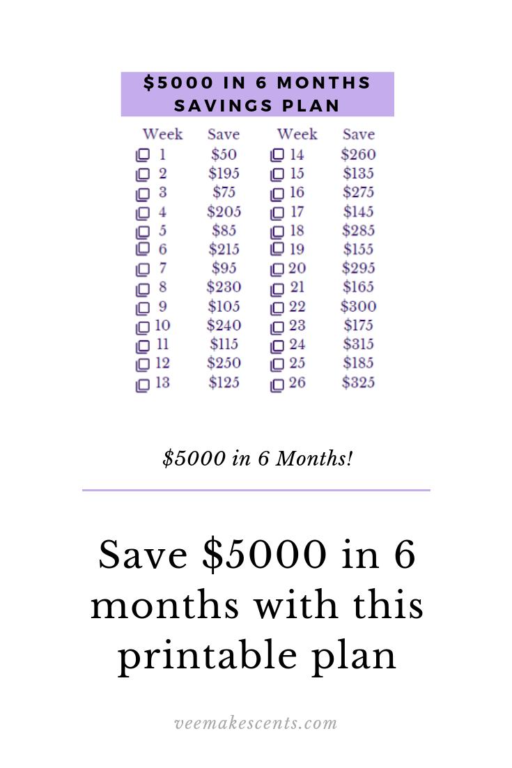 5000 In 6 Months Savings Plan Money Saving Strategies Savings Plan Saving Money Budget