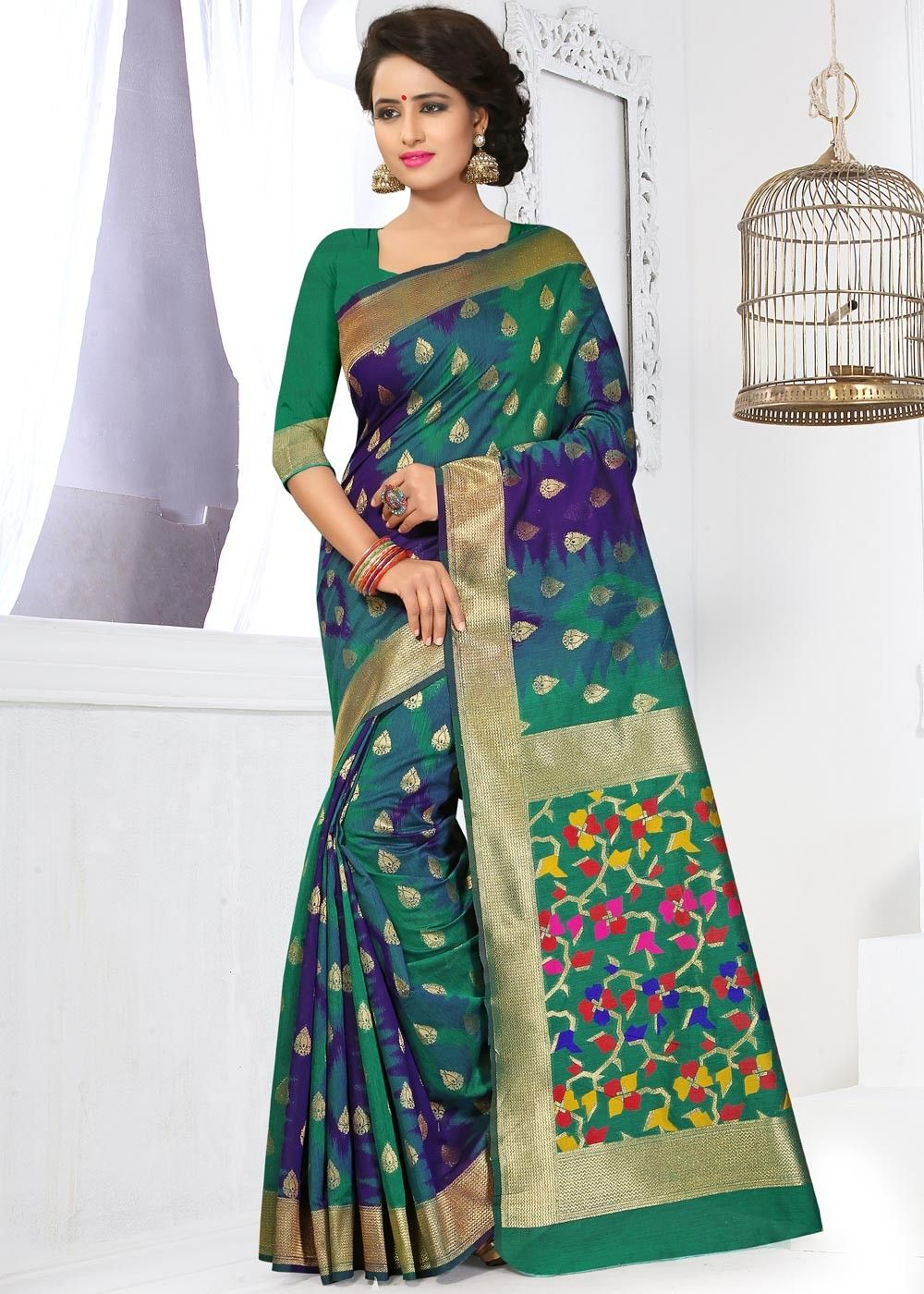 2eea41e2c418d5 Look #gracious by draping this multi tone #banarasi #silk #saree richly  weaved with #zari all over.