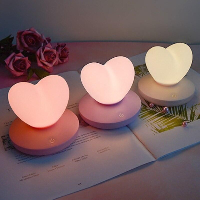 Usb Rechargeable Heart Led Touch Control Night Light In 2020 Night Light Led Night Light Light