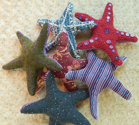 HAPPY STARFISH Knitagain   - plush sea creature made from recycled sweaters w hand-embroidered details