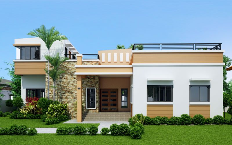 Rey four bedroom one storey with roof deck shd 2015021 for Small single story modern house plans