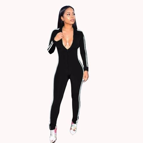 d3b5f78aeeb Black Long Sleeve Jumpsuits Deep V - Neck Bodycon Sexy Full Bodysuit Casual  Side Striped Zipper Overalls Rompers Womens Jumpsuit