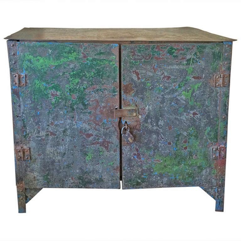 Exceptional French Industrial Cabinet | From a unique collection of antique and modern cabinets at https://www.1stdibs.com/furniture/storage-case-pieces/cabinets/