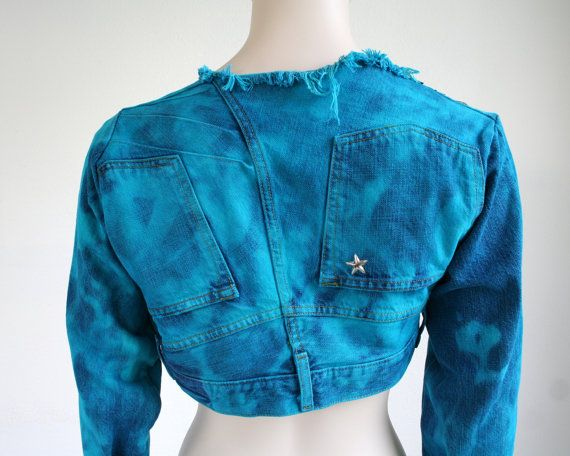 Women's cropped jacket studded denim jacket in bright by Bartinki...backside...literally