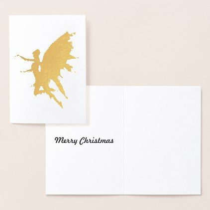 #Gold Angel Foil Card - #Xmas #ChristmasEve Christmas Eve #Christmas #merry #xmas #family #kids #gifts #holidays #Santa