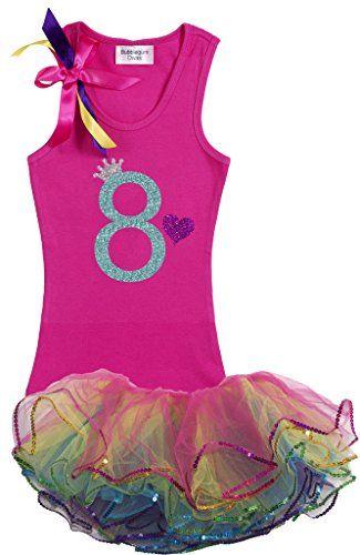Bubblegum Divas Big Girls 8th Birthday Shirt Rainbow Outfit