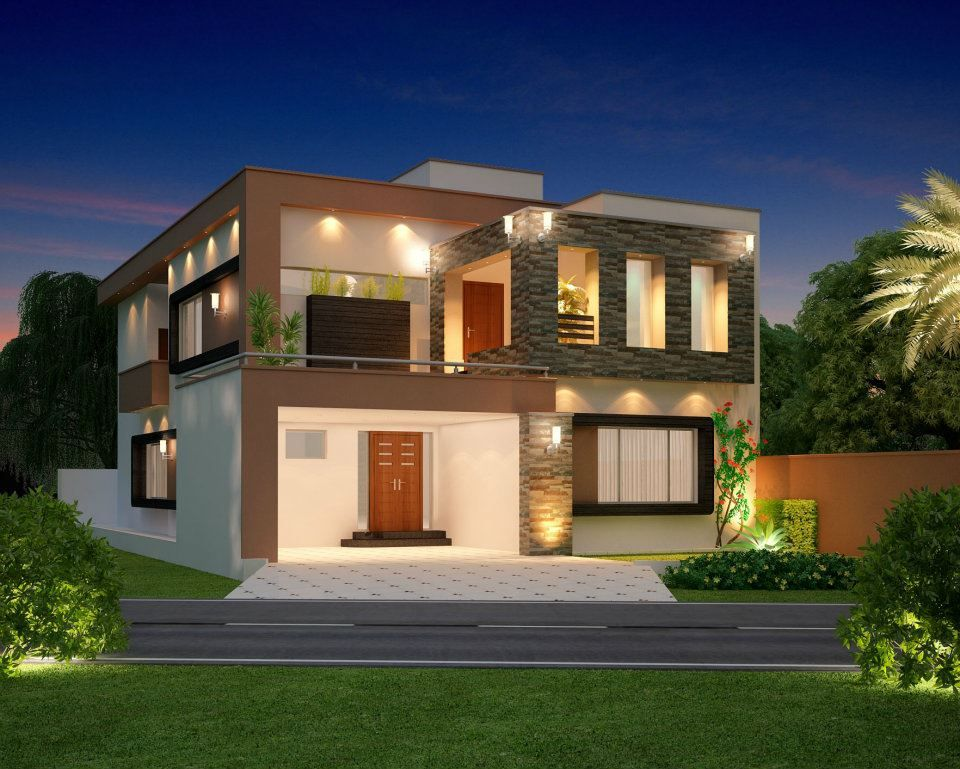 10 marla modern home design 3d front elevation lahore for Contemporary model house