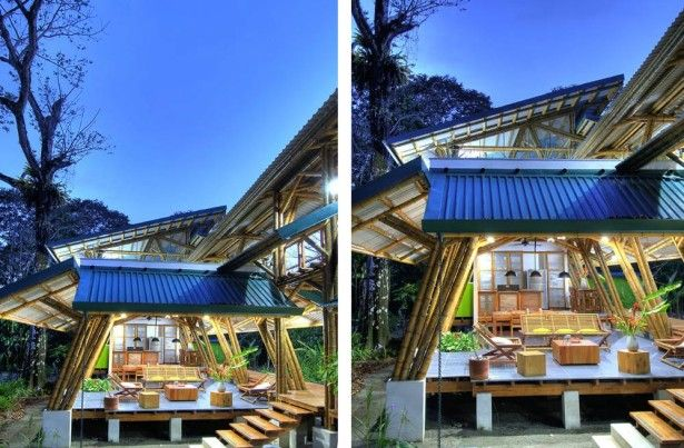 Home design, Small Bamboo House Facade Design In Forest ...