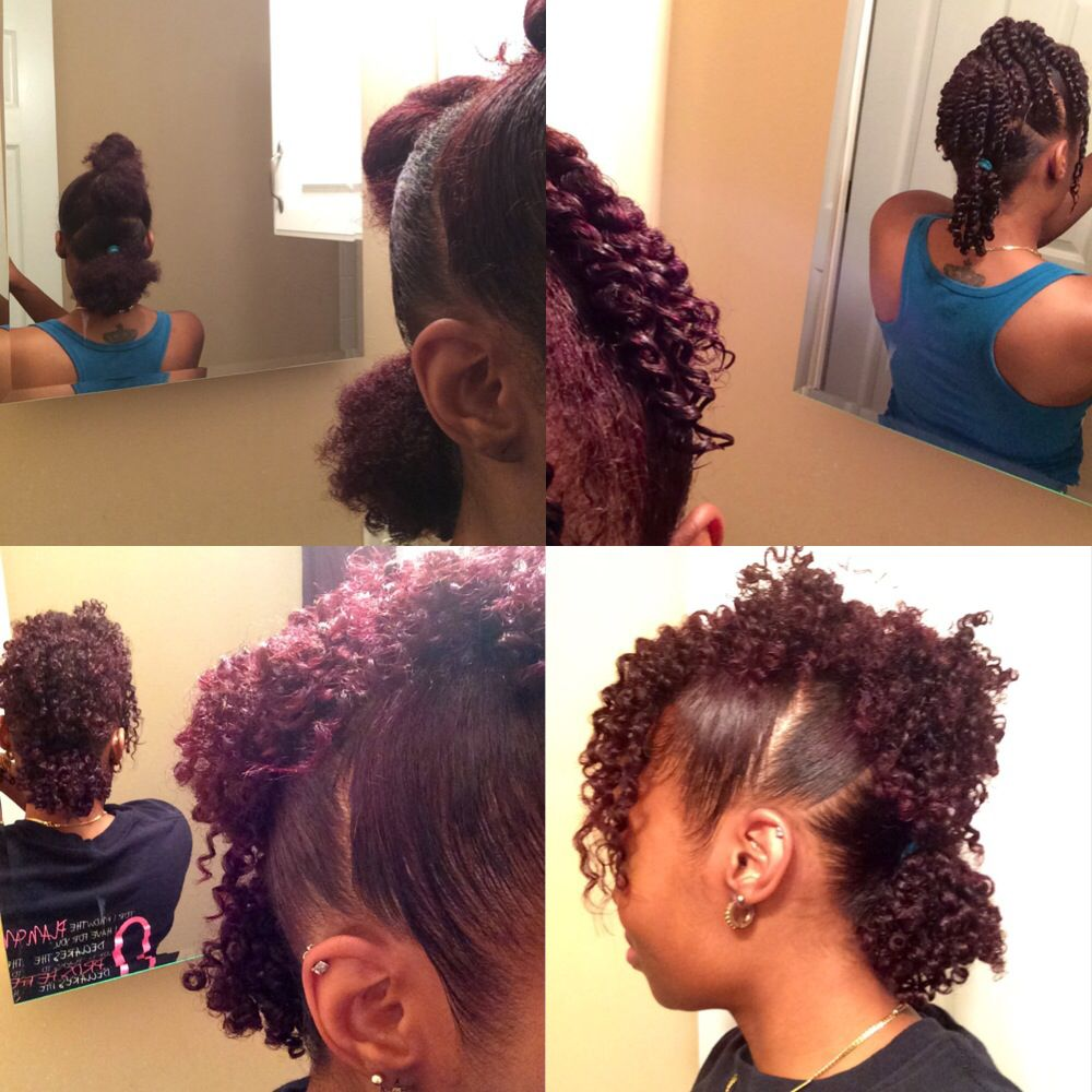 3 ponytail mohawk + twist out on natural hair   all abt hair