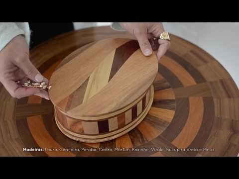 Caixa de Madeira Artesanal Feita em Marchetaria - Millettia (M)