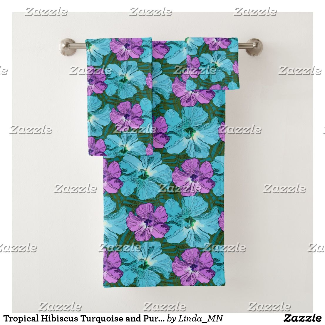 Tropical Hibiscus Turquoise And Purple Bath Towel Set Tropical