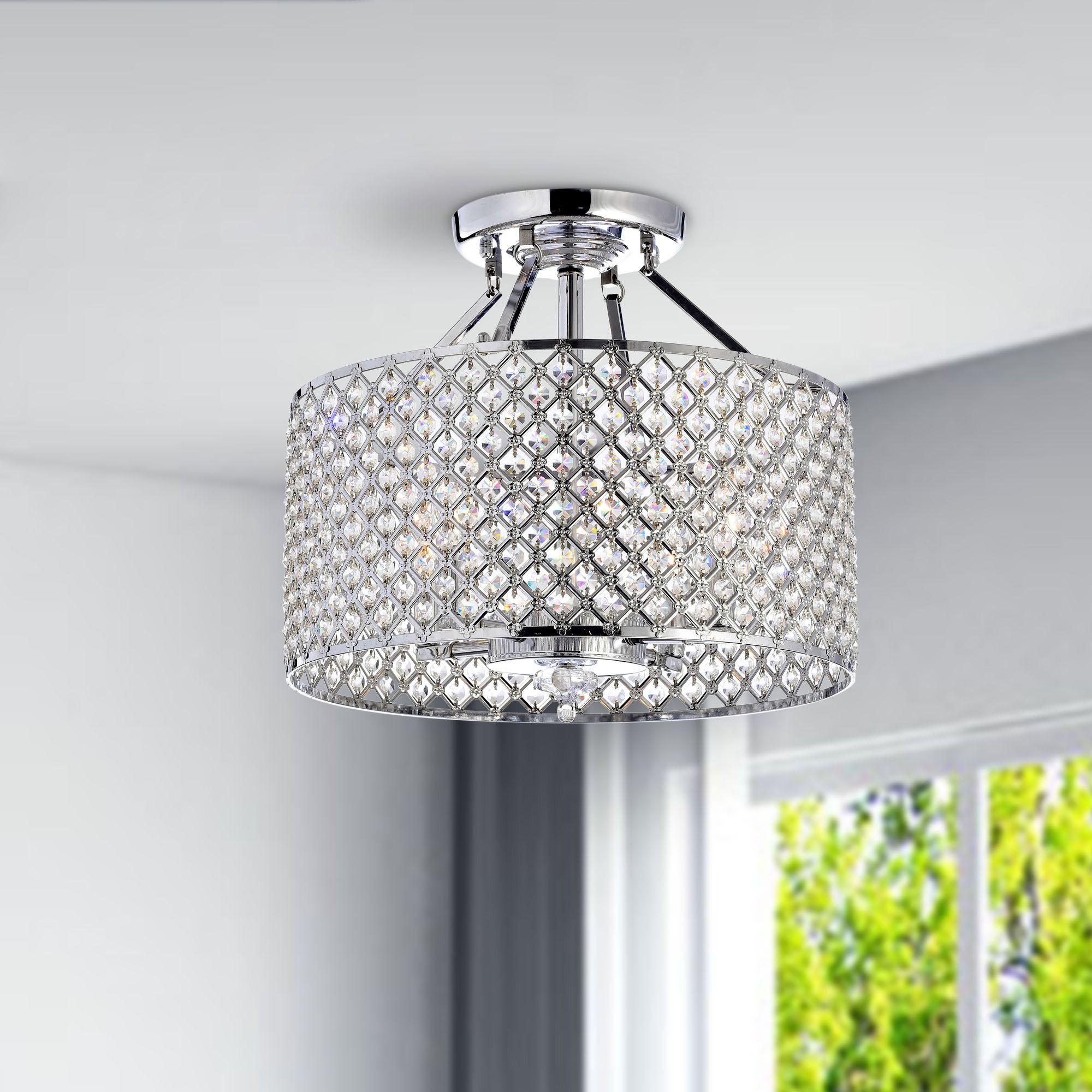 Chrome crystal light round ceiling chandelier light round