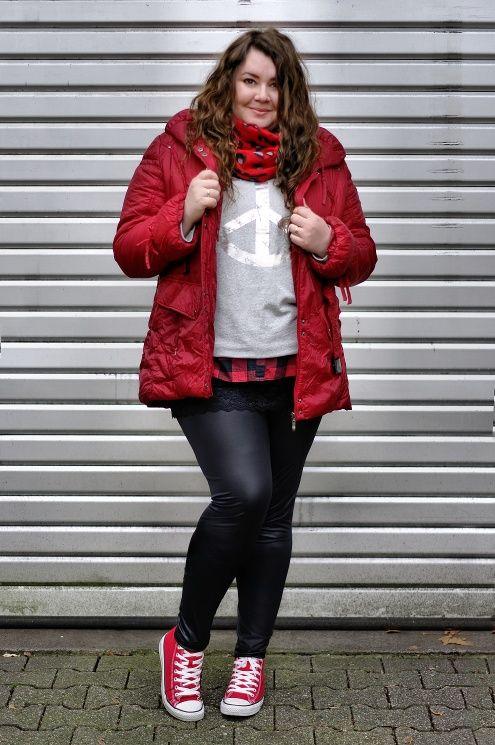 e7d05f9b3d2d ThePlusSizeBlog.com - Plus Size Outfit - gray sweatshirt, red jacket, red  converse, leather leggings.