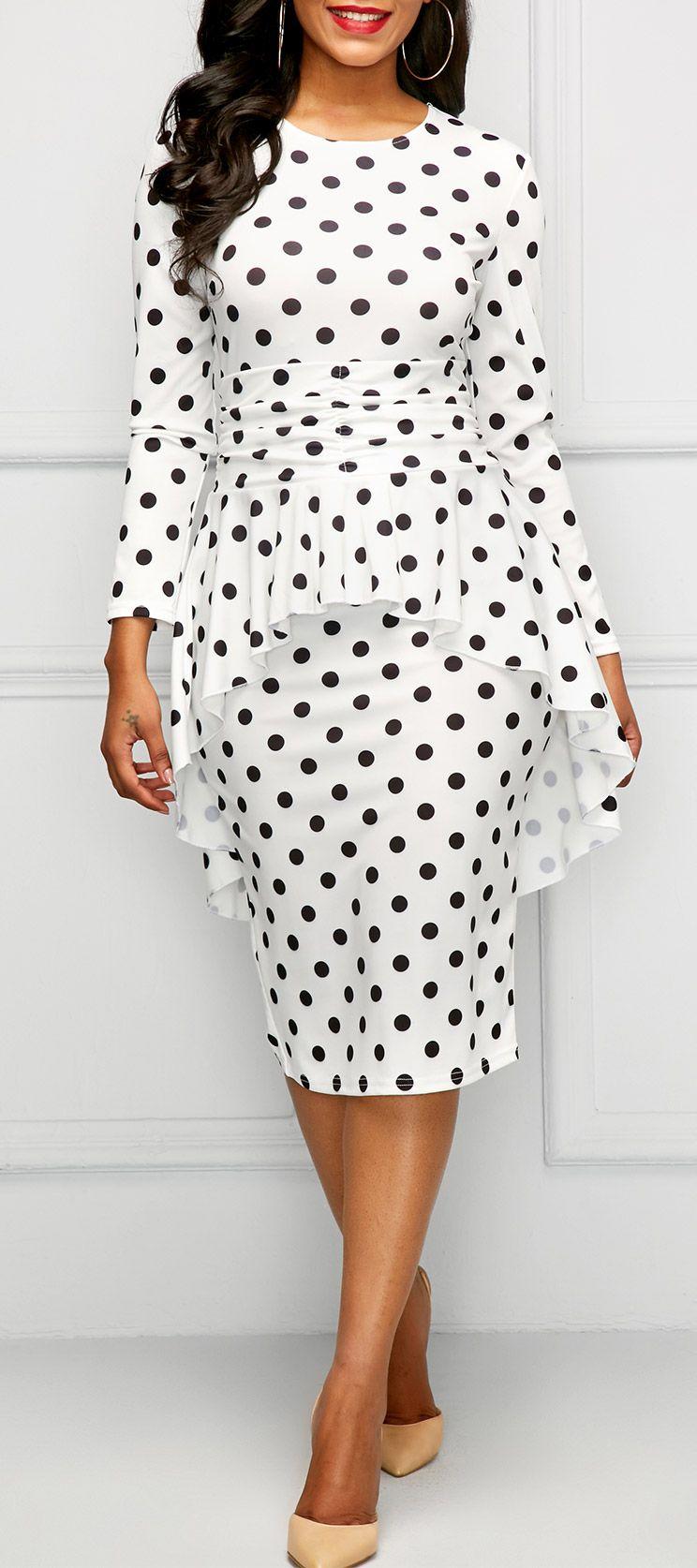 Long Sleeve Overlay Polka Dot Dress Fashion Shop Casual Dresses Clothes [ 1674 x 744 Pixel ]